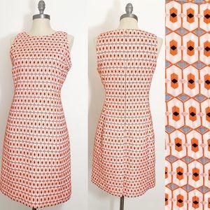 JCrew Geometric Mod orange embroidered shift dress